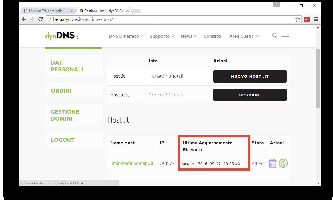 Verifica corretta configurazione - Configurazione dynDNS.it con host .it - dynDNS.it - DNS dinamico gratuito